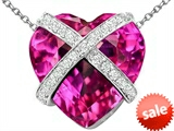 Original Star K™ Large Prisoner of Love Heart Pendant with 15mm Heart Shape Created Pink Sapphire