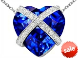 Original Star K™ Large Prisoner of Love Heart Pendant with 15mm Heart Shape Simulated Sapphire style: 306502