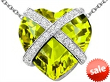 Original Star K™ Large Prisoner of Love Heart Pendant with 15mm Heart Shape Simulated Peridot
