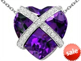 Original Star K™ Large Prisoner of Love Heart Pendant with 15mm Heart Shape Simulated Amethyst