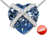 Original Star K™ Large Prisoner of Love Heart Pendant with 15mm Heart Shape Simulated Aquamarine
