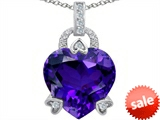 Original Star K™ Large Lock Love Heart Pendant with 13mm Heart Shape Simulated Amethyst style: 306507