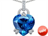 Original Star K™ Large Lock Love Heart Pendant with 13mm Heart Shape Simulated Blue Topaz