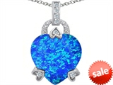 Original Star K™ Large Lock Love Heart Pendant with 13mm Heart Shape Created Blue Opal