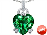 Original Star K™ Large Lock Love Heart Pendant with 13mm Heart Shape Simulated Emerald