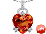 Original Star K™ Large Lock Love Heart Pendant with 13mm Heart Shape Simulated Mexican Orange Fire Opal