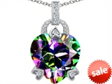 Original Star K™ Large Lock Love Heart Pendant with 13mm Heart Shape Rainbow Mystic Topaz