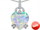 Original Star K™ Large Lock Love Heart Pendant with 13mm Heart Shape Created Opal
