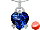 Original Star K™ Large Lock Love Heart Pendant with 13mm Heart Shape Created Sapphire