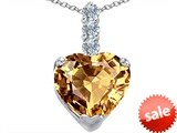 Original Star K™ Large 12mm Heart Shape Simulated Imperial Yellow Topaz Pendant