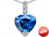 Original Star K™ Large 12mm Heart Shape Simulated Blue Topaz Pendant