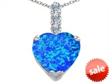 Original Star K™ Large 12mm Heart Shape Created Blue Opal Pendant