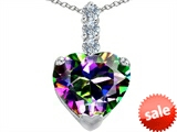 Original Star K™ Large 12mm Heart Shape Rainbow Mystic Topaz Pendant