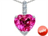 Original Star K™ Large 12mm Heart Shape Created Pink Sapphire Pendant