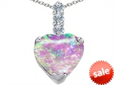 Original Star K™ Large 12mm Heart Shape Created Pink Opal Pendant