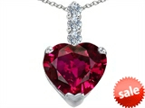 Original Star K™ Large 12mm Heart Shape Created Ruby Pendant
