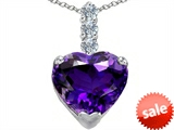 Original Star K™ Large 12mm Heart Shape Simulated Amethyst Pendant
