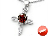 Original Star K™ Round Genuine Garnet Cross Pendant