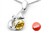 Original Star K™ Round 6mm Genuine Citrine Cat Pendant