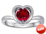 Original Star K™ Heart Engagement Promise of Love Ring with 7mm Round Created Ruby