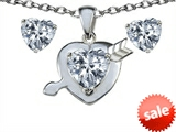 Original Star K™ Genuine White Topaz Heart With Arrow Pendant With Matching Earrings style: 306545