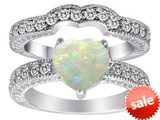 Original Star K™ 8mm Heart Shape Created Opal Wedding Set