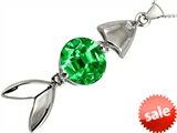 Original Star K™ Fish Pendant With Round Simulated Emerald