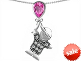 Original Star K™ Boy Holding a Balloon Mother September Birthstone Pear Shape Created Pink Sapphire Pendant