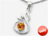 Original Star K™ Round Genuine Citrine Swan Pendant