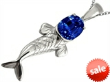 Original Star K™ Fish Pendant With Oval Created Sapphire