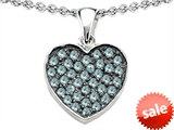 Original Star K™ Heart Shape Love Pendant with Simulated Aquamarine style: 306556