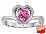 Original Star K™ Heart Engagement Promise of Love Ring with 7mm Round Created Pink Sapphire