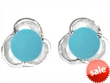 Original Star K™ Round Simulated Turquoise Flower Earrings Studs style: 306565