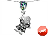 Original Star K™ Little Girl Holding a Balloon Mother Birthstone 9x7mm Pear Shape Rainbow Mystic Topaz Pendant