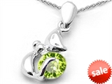 Original Star K™ Round 6mm Genuine Peridot Cat Pendant style: 306568