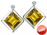 Original Star K™ Square Genuine Citrine Earring Studs With High Post On Back
