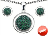 Original Star K™ Simulated Emerald Round Puffed Pendant Box Set with matching earrings