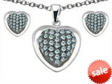 Original Star K™ Simulated Aquamarine Heart Shape Love Pendant with matching earrings style: 306574