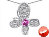 Original Star K™ Butterfly Pendant With Round Created Pink Sapphire style: 306576