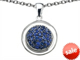 Original Star K™ Round Puffed Pendant with Created Sapphire style: 306577