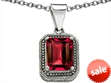Original Star K™ Bali Style Emerald Cut 10x8mm Created Ruby Pendant