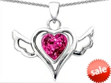 Original Star K™ Wings Of Love Pendant with Heart Created Pink Sapphire style: 306582