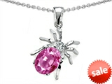 Original Star K™ Spider Pendant With 9x7mm Oval Created Pink Sapphire