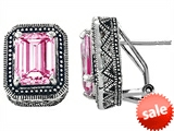 Original Star K™ Bali Style Emerald Cut Created Pink Sapphire Earrings style: 306584