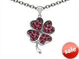 Celtic Love by Kelly Lucky Clover Pendant with Created Ruby