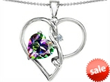 Original Star K™ Large 10mm Heart Shape Rainbow Mystic Topaz Knotted Heart Pendant style: 306586