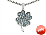 Celtic Love by Kelly Lucky Clover Pendant with Simulated Aquamarine style: 306587