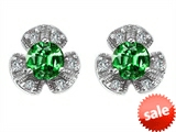 Original Star K™ Flower Earrings With Round 5mm Simulated Emerald