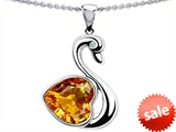 Original Star K™ Love Swan Pendant With Heart Shape 8mm Genuine Citrine
