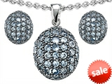 Original Star K™ Simulated Aquamarine Oval Puffed Pendant with matching earrings style: 306591